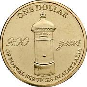 Australia One Dollar 200 Years of Postal Services in Australia 2009  ONE DOLLAR 200 YEARS OF POSTAL SERVICES IN AUSTRALIA coin reverse