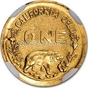 USA One Dollar Indian Round Bear 1849 CALIFORNIA GOLD ONE coin reverse