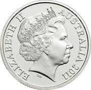 Australia One Dollar RAM's Head 2011 KM# 1504a ELIZABETH II AUSTRALIA 2011 IRB coin obverse