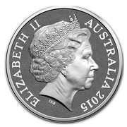Australia One Dollar Saltwater Crocodile - Agro Junior 2015  ELIZABETH II AUSTRALIA 2015 coin obverse