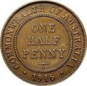 Australia One half penny George V - Mule 1916 I 5 known KM# 30 COMMONWEALTH OF AUSTRALIA ONE HALF PENNY I ∙ 1916 ∙ coin reverse