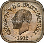 Australia One Penny Kookaburra Pattern - Type 6 1919 KM# Pn11 GEORGE V D.G.BRITT.OMN:REX 1919Translation: George V by the Grace of God, King of all the British territories coin obverse