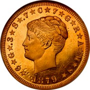 USA One Stella 1879 KM# Pn1723 Early American Tokens ★6★G★.3★S★.7★C★7★G★R★A★M★S★ LIBERTY 1879 coin obverse