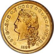 USA One Stella Flowing Hair 1880 ★6★G★.3★S★.7★C★7★G★R★A★M★S★ LIBERTY coin obverse