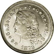 USA One Stella (Flowing Hair) KM# Pn1722 ★6★G★.3★S★.7★C★7★G★R★A★M★S★ LIBERTY 1879 coin obverse