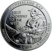 USA Quarter Dollar Cumberland Gap 2016 KM# 636a CUMBERLAND GAP FIRST DOORWAY TO THE WEST BF JFM KENTUCKY 2016 E PLURIBUS UNUM coin reverse