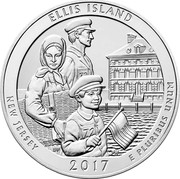 USA Quarter Dollar Ellis Island 2017 KM# 665 UNITED STATES OF AMERICA LIBERTY IN GOD WE TRUST QUARTER DOLLAR coin reverse