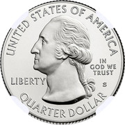 USA Quarter Dollar Fort Moultrie 2016 S Proof KM# 639a UNITED STATES OF AMERICA LIBERTY IN GOD WE TRUST QUARTER DOLLAR S JF coin obverse