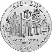 USA Quarter Dollar Harpers Ferry 2016 S Proof KM# 637a HARPERS FERRY TRH PH JOHN BROWN'S FORT WEST VIRGINIA 2016 E PLURIBUS UNUM coin reverse