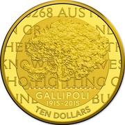 Australia Ten Dollars 100th Anniversary of the Gallipoli Landing 2015 GALLIPOLI 1915-2015 TEN DOLLARS coin reverse