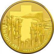 Australia Ten Dollars Anzac Centenary 1915-2015 2015 KM# 2200 TEN DOLLARS ANZAC CENTENARY 1915-2015 C AS coin reverse