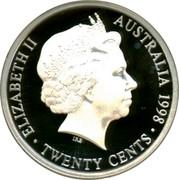 Australia Twenty Cents Victoria and Melbourne Centenary Florin 1998 ELIZABETH II AUSTRALIA 1998 IRB ∙ TWENTY CENTS ∙ coin obverse