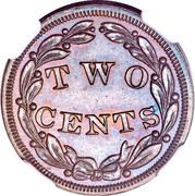 USA Two Cents Pattern 1836 About 24 known TWO CENTS coin reverse