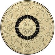Australia Two Dollars Australian Olympic Team - Black 2016  2016 AUSTRALIAN OLYMPIC TEAM TWO DOLLARS coin reverse