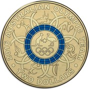 Australia Two Dollars Australian Olympic Team - Blue 2016  2016 AUSTRALIAN OLYMPIC TEAM TWO DOLLARS coin reverse