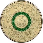 Australia Two Dollars Australian Olympic Team - Green 2016  2016 AUSTRALIAN OLYMPIC TEAM TWO DOLLARS coin reverse