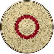 Australia Two Dollars Australian Olympic Team - Red 2016  2016 AUSTRALIAN OLYMPIC TEAM TWO DOLLARS coin reverse