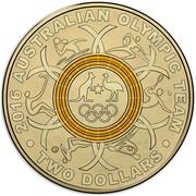Australia Two Dollars Australian Olympic Team - Yellow 2016  2016 AUSTRALIAN OLYMPIC TEAM TWO DOLLARS coin reverse