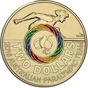 Australia Two Dollars Australian Paralympic Team 2016  TWO DOLLARS 2016 AUSTRALIAN PARALYMPIC TEAM coin reverse