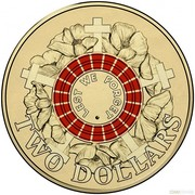 Australia Two Dollars Lest We Forget - Red 2015 KM# 2188 LEST WE FORGET ∙ TWO DOLLARS coin reverse