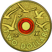 Australia Two Dollars Remembrance Day - Orange 2015 KM# 2189 TWO DOLLARS coin reverse