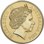 Australia Two Dollars Remembrance - Green 2014 KM# 2170 ELIZABETH II AUSTRALIA 2014 coin obverse