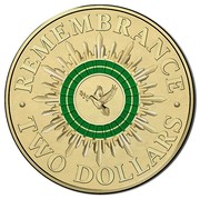 Australia Two Dollars Remembrance - Green 2014 KM# 2170 REMEMBRANCE TWO DOLLARS coin reverse