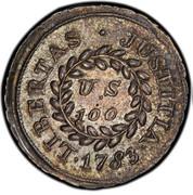 USA U.S 100 (Bit) 1783 KM# EA13.1 ∙ LIBERTAS ∙ JUSTITIA ∙ U.S 100 coin reverse