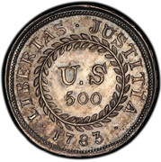 USA U.S 500 1783 KM# EA14 Nova Constellatio ∙ LIBERTAS ∙ JUSTITIA ∙ U.S 500 coin reverse
