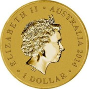 Australia 1 Dollar 100th Anniversary Australian Military Aviation 2014 ELIZABETH II AUSTRALIA 2014 1 DOLLAR IRB coin obverse