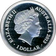 Australia 1 Dollar Bicentenary of the Holey Dollar & Dump 2013 KM# 2028a ELIZABETH II AUSTRALIA 2013 1 DOLLAR IRB coin obverse