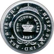 Australia 1 Dollar Bicentenary of the Holey Dollar & Dump 2013 KM# 2028a HISPAN*ET IND*REX*M*8R*T*H NEW SOUTH WALES 1813 coin reverse