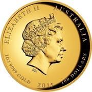 Australia 100 Dollars Great White Shark 2015 ELIZABETH II AUSTRALIA 1 OZ 9999 GOLD 2015 100 DOLLARS IRB coin obverse