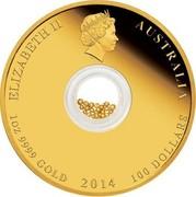 Australia 100 Dollars Treasures of the World - Australia 2014 KM# 2176 ELIZABETH II AUSTRALIA 1 OZ 9999 GOLD 2014 100 DOLLARS IRB coin obverse