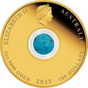 Australia 100 Dollars Treasures of the World - North America 2015 KM# 2203 ELIZABETH II AUSTRALIA 1 OZ 9999 GOLD 2015 100 DOLLARS IRB coin obverse