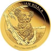 Australia 15 Dollars Australian Koala 2015 AUSTRALIAN KOALA 2015 1/10 OZ 9999 GOLD P IJ coin reverse