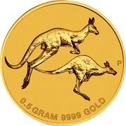 Australia 2 Dollars Mini Roo 2018 0.5 GRAM 9999 GOLD P coin reverse