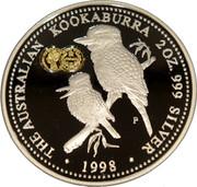 Australia 2 Dollars The Australian Kookaburra (Sovereign Privy) 1998 THE AUSTRALIAN KOOKABURRA 2 OZ. 999 SILVER 1998 SOVEREIGN P coin reverse