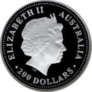 Australia 200 Dollars Australian Kookaburra 2001 KM# 878 ELIZABETH II AUSTRALIA 200 DOLLARS IRB coin obverse