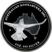 Australia 200 Dollars Australian Kookaburra 2001 KM# 878 AUSTRALIAN KOOKABURRA 2001 1 OZ. 999 SILVER P coin reverse