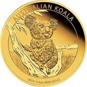 Australia 25 Dollars Australian Koala 2015 AUSTRALIAN KOALA 2015 1/4 OZ 9999 GOLD P IJ coin reverse