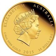 Australia 25 Dollars Celebrating the Birth of the Royal Baby 2015 ELIZABETH II AUSTALIA 1/4 OZ 9999 GOLD 2015 25 DOLLARS IRB coin obverse