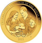 Australia 25 Dollars Celebrating the Birth of the Royal Baby 2015 CELEBRATING THE BIRTH OF THE ROYAL BABY 2015 P AH coin reverse