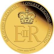 Australia 25 Dollars Longest Reigning Monarch 2015 H.M.QUEEN ELIZABETH II LONGEST REIGNING MONARCH 1/4 OZ 9999 GOLD E II R P NM coin reverse