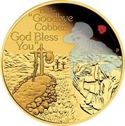 "Australia 25 Dollars The ANZAC Spirit 100th Anniversary - Goodbye Cobber 2015 1915 ~ ""GOODBYE COBBER. GOD BLESS YOU"" P WR coin reverse"