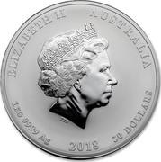 Australia 30 Dollars Year of the Dog 2018 ELIZABETH II AUSTRALIA 1 KG 9999 AG 2018 30 DOLLARS IRB coin obverse