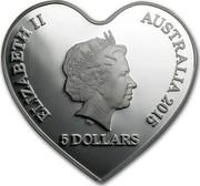 Australia 5 Dollars Eternal Love 2015  ELIAZABETH II AUSTRALIA 2015 5 DOLLARS IRB coin obverse