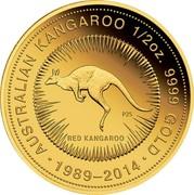 Australia 50 Dollars Australian Kangaroo 2014 AUSTRALIAN KANGAROO 1/2 OZ. 9999 GOLD 1989 - 2014 RED KANGAROO P25 coin reverse