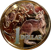 Australia Dollar (30 Years of Mob of Roos) KM# 489.4 1 DOLLAR coin reverse