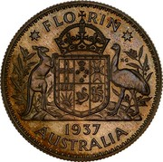 Australia Florin Edward VIII (Pattern) 1937 FLORIN K∙G 1937 AUSTRALIA coin reverse
